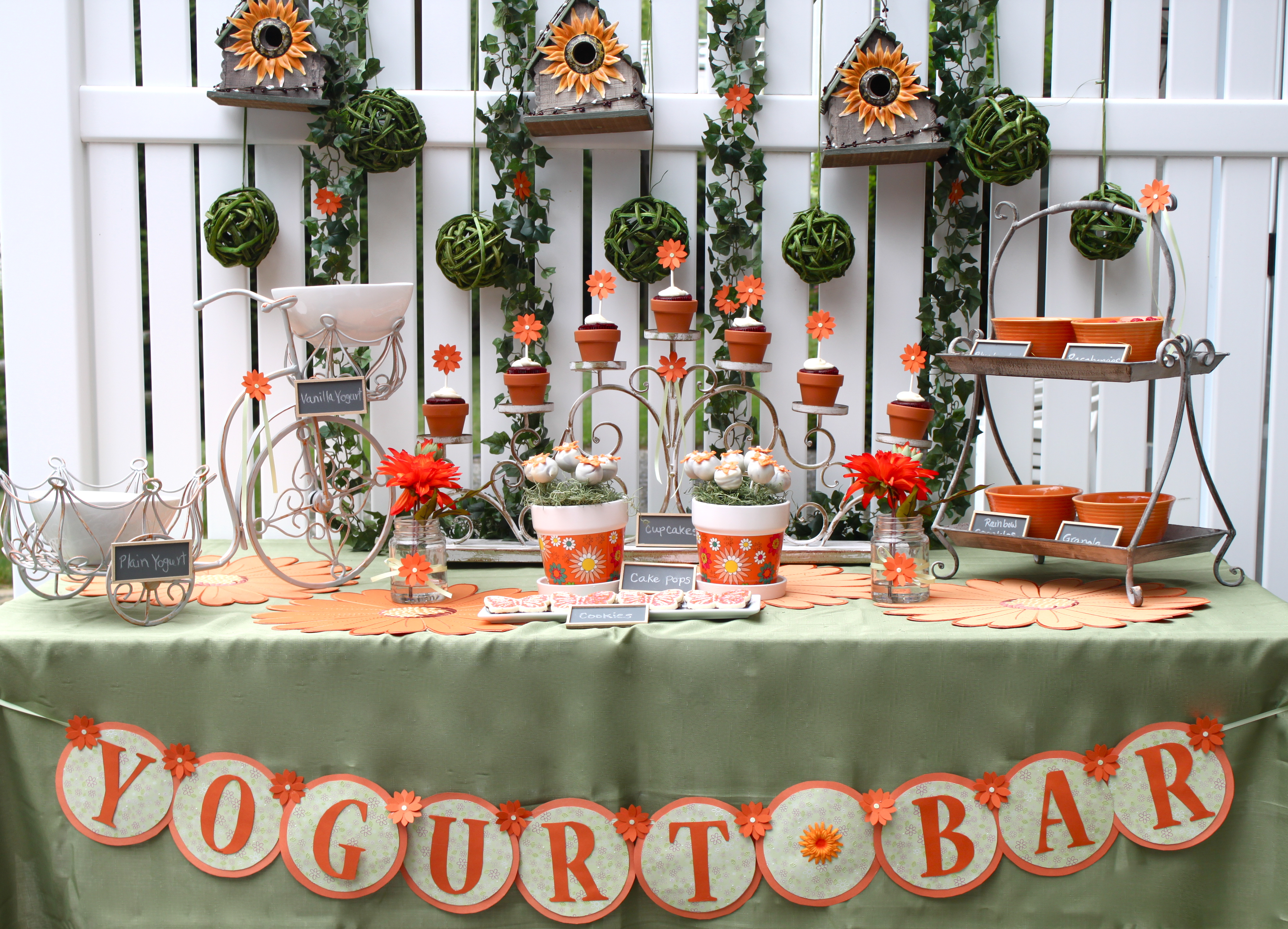 yogurt bar door sign yogurt station cakepops toppings cupcakes tablescape the table